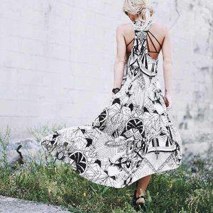 Free People Geometric Print Hi-Low Maxi Dress